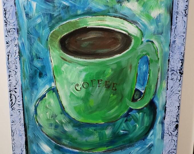 "Modern Coffee Cup Art - Original acrylic painting ""Green Coffee Mug"" -16x20 abstract style - Kitchen art -Restaurant decor"