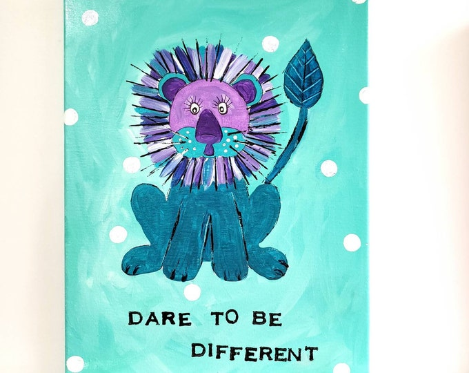 """Lion Original Acrylic Painting  """" Dare to be Different """" wall art - Purple and Teal home decor"""