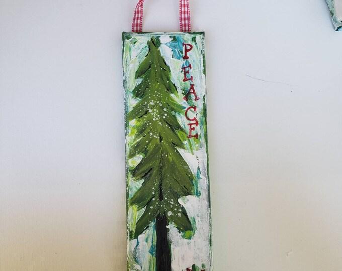 Abstract Green Holiday Tree - 3x9 Original acrylic painting- Christmas PEACE Shelf/Mantel Art
