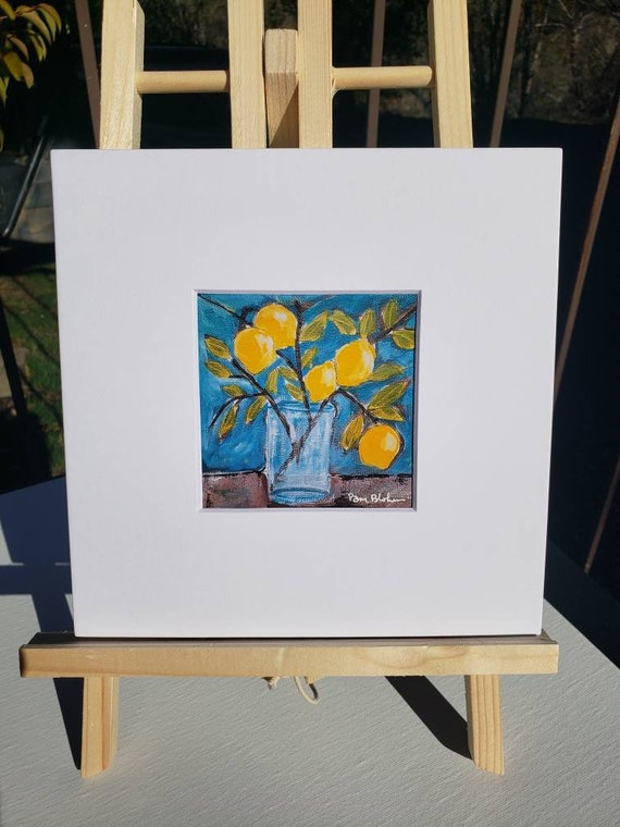 "Artist PRINT ""Lemon Branch "" from Pam Blohm original painting /white matted to 8x8"
