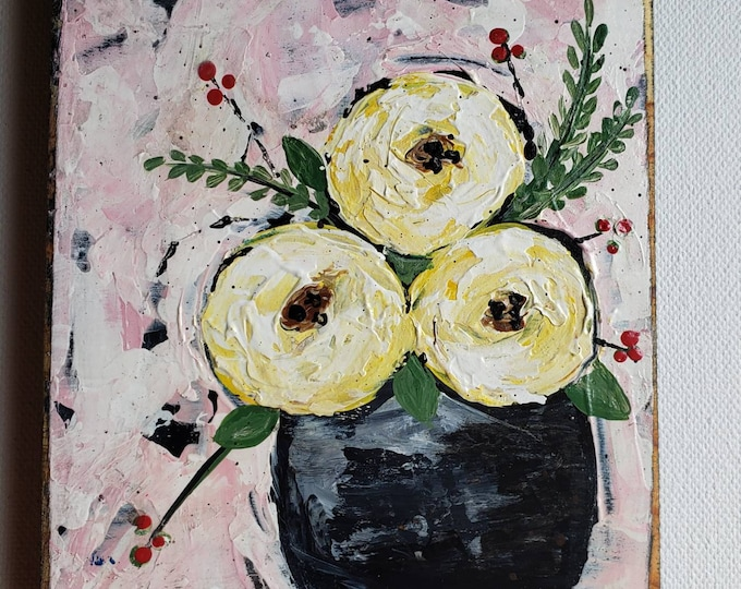 """Abstract Vase of Yellow Flowers """"Momma's Favorite """" - 4x5"""" original acrylic painting on upcycled PINE wood canvas. 3 Yellow Roses"""