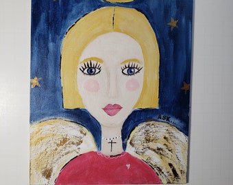 """Angel """"Wings in the Wind"""" original acrylic painting- 8×10 canvas PANEL- her word is ASK."""