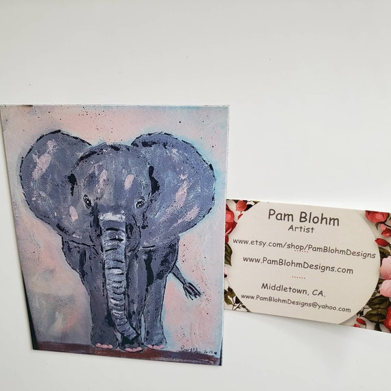 "Artist MAGNET "" Dancing Elephant "" from original acrylic painting / 3.5"" x4.50""  strong hold and flexible/ gift idea/ kitchen decor"