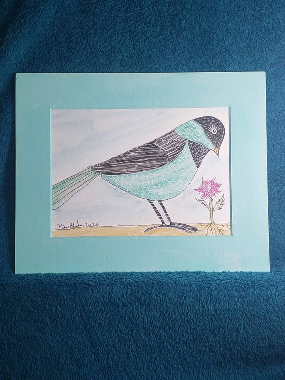 """Whimsical Original watercolor and ink artwork/8x10 matted painting / """"What's That ?"""" Bird wall art"""