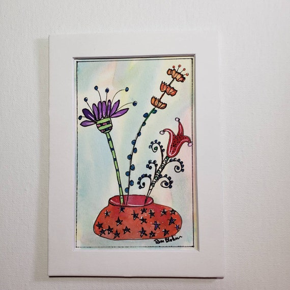 "Original watercolor & ink floral artwork "" Garden fun"" / 5x7 Matted flower painting / Whimsical Art"
