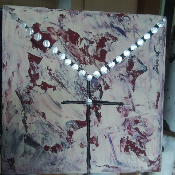 "Silverleaf ink beads-""Black Crucifix"" -Burgandy & Ivory background. 5x5 mini canvas/Religious art/abstract/Cross/modern art"