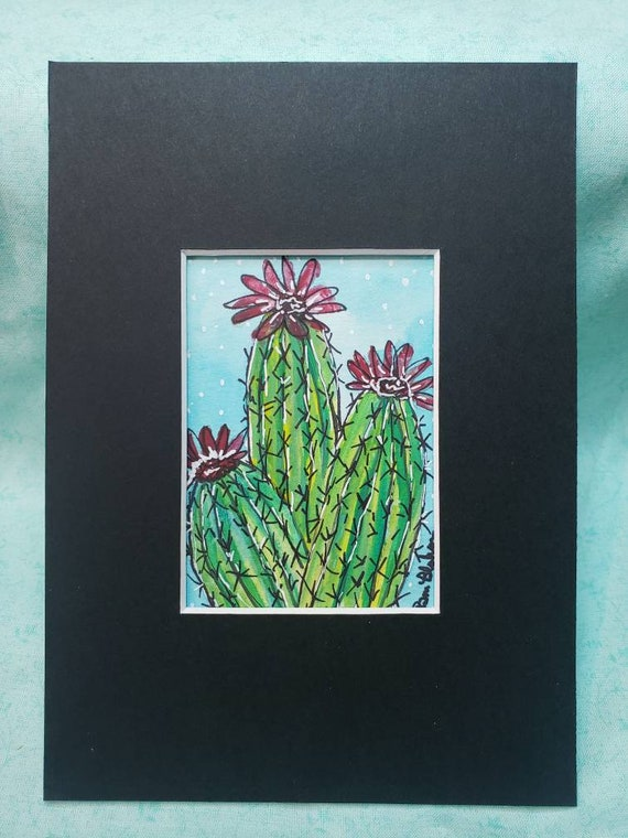 "Watercolor and ink ""Bloomin Cactus"" original painting /small art painting  /mstted to 5x7/ Desert Flower art"