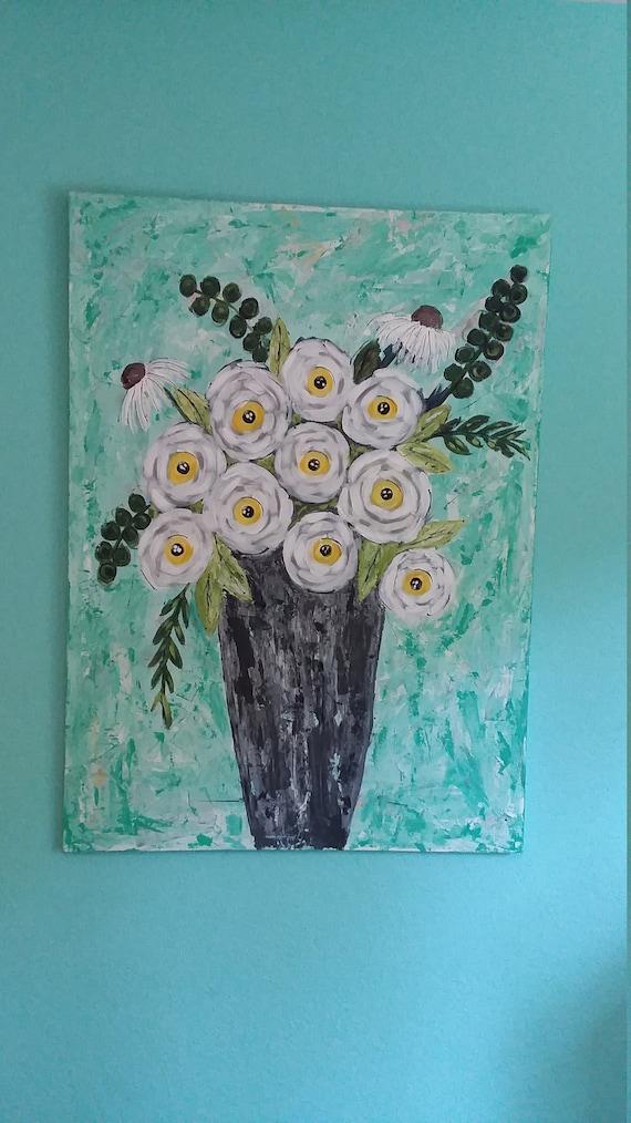 "Original acrylic floral painting. Large Art ""FLORAL DREAM"" /abstract wall art/bedroom decor/office decor/Nursery art/Flower art/Bedroom"