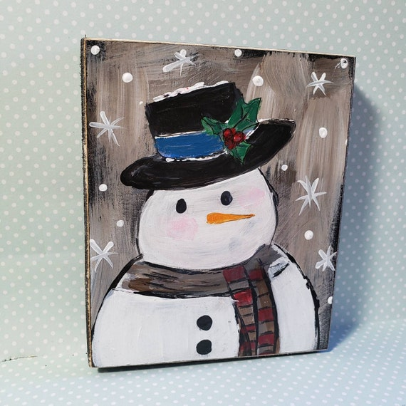 "Small art original acrylic painting on Wood / ""My Man"" holiday decor /Snowman art /Christmas decorations"