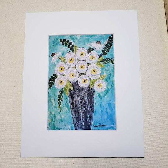 "Artist PRINT of original acrylic paintings ""Floral Dream "" / 8x10 "" mat / flower artwork Print by artist Pam Blohm"