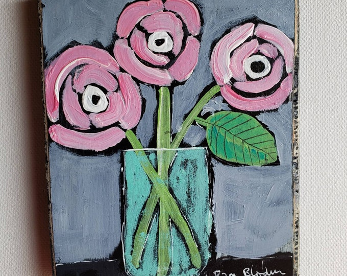 """Original """"3 Pink Friends"""" whimsical acrylic painting- 4x5 Pink Flowers art on upcycled birch plywood-  Pink and Grey decor- vase of flowers"""