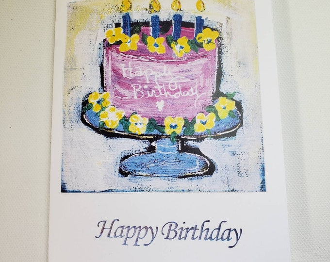 Happy Birthday CAKE notecard set -set of 6 notecards with self adhesive envelopes-from Pam Blohm  original painting