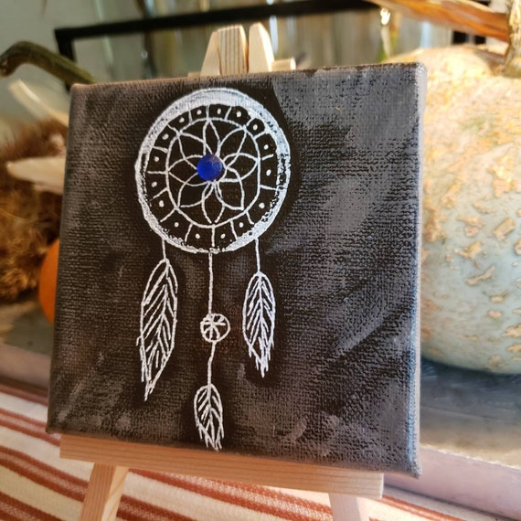 Small art dream catcher original painting.  Includes easel, shipping , and blue rhinestone.
