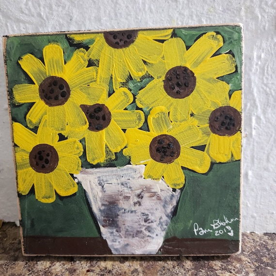 "Country art ""Simply Sunflowers"" acrylic painting on wood / 6x6 Garden Flowers/Floral artwork"