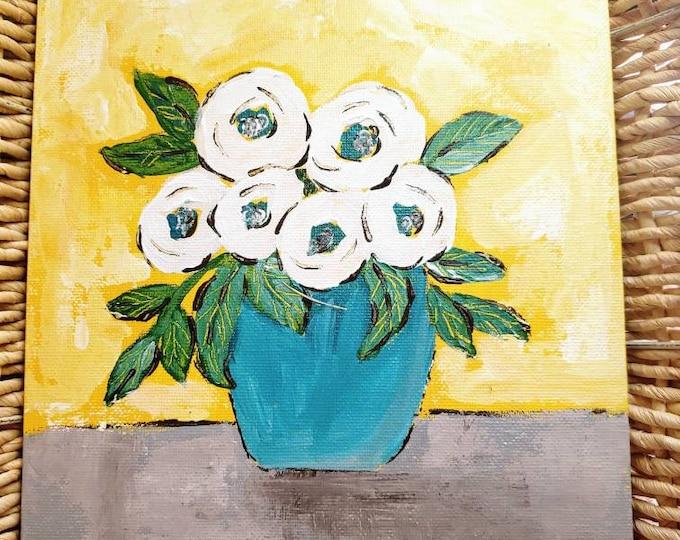 "Abstract Flower Art "" Wedding  White Roses"" - 8x10  original acrylic painting  -flat canvas panel wall art- Vase of Flowers Artwork"
