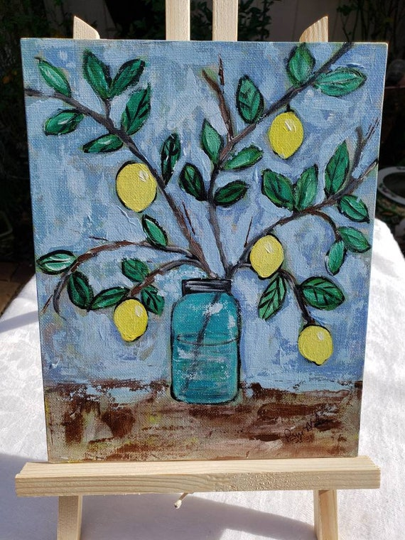 "Original "" Annie's Lemon Branch ""  Acrylic Painting  / 8x10 Canvss Panel /kitchen decor /Yellow Citrus"
