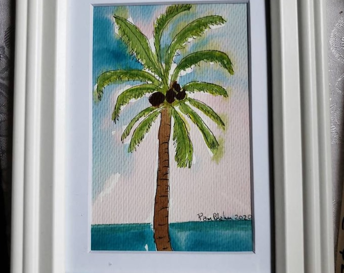 """Framed  """"Hawaii Palm """" tropical painting- Original watercolor and ink painting-  7x9 Ocean and Palm Tree Wall art"""