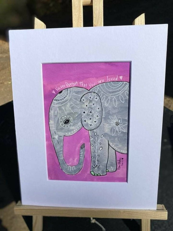 "Elephant watercolor and  ink  original. "" Never forget how much you are loved "" Purple  elephant art.  8x10 . Nursery decor/Wall - home deco"