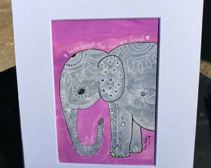"""Elephant Watercolor """" Never forget how much you are loved """" -Original watercolor & ink - 8x10 Wall art - Childs room art - Purple home decor"""