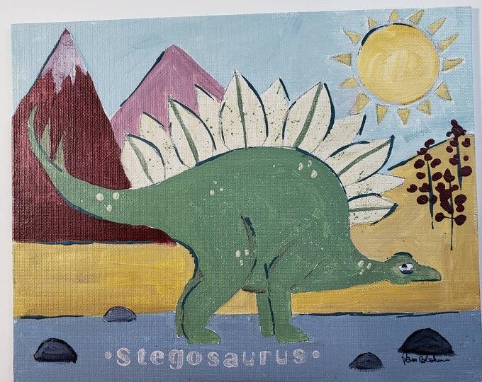 Stegosaurus Dinosaur original acrylic painting-8x10 canvas Panel- kids room art- Boho Color pallette