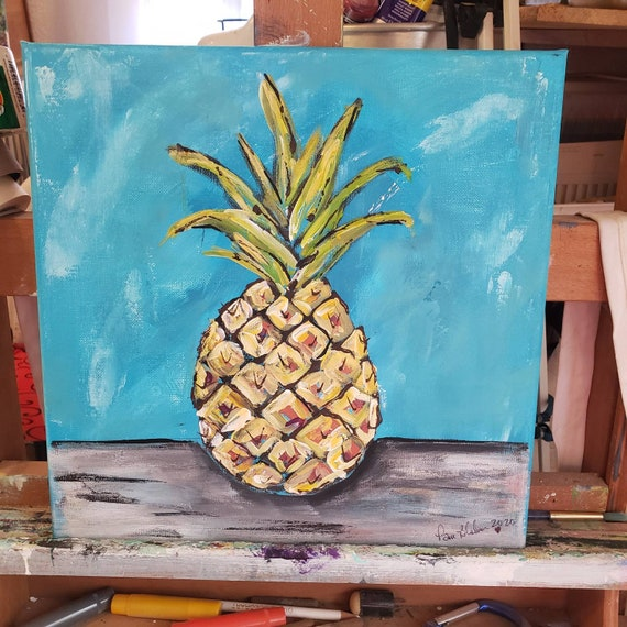 "Original Acrylic Painting "" Hawaiian Pineapple "" abstract artwork/ Kitchen Decor / Tropical Fruit."