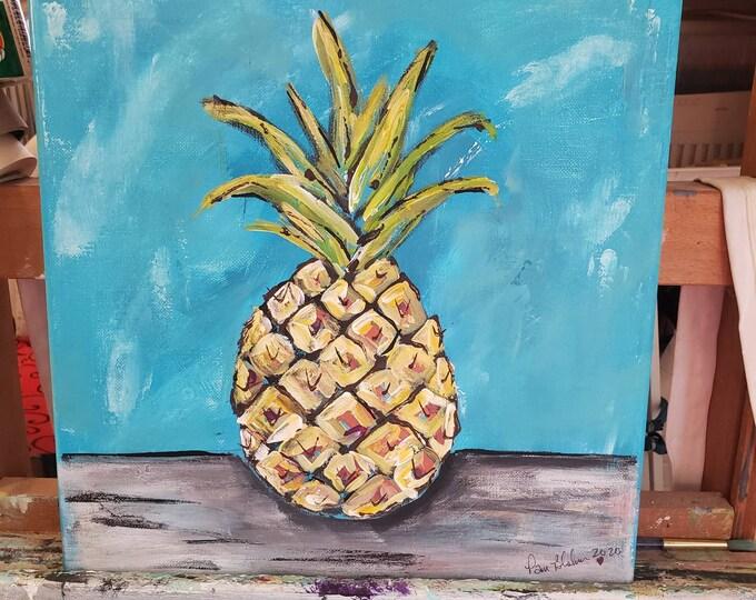 "Tropical Fruit art  "" Hawaiian Pineapple "" - 12x12 Original Acrylic  artwork-Kitchen Decor -Yellow Pinapple"