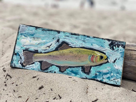 """Abstract """"Brook Fish""""  /  4x10 """" original acrylic painting on wood / Trout art /Fathers day/Man room/Fishing art/Father's Day/gift idea"""