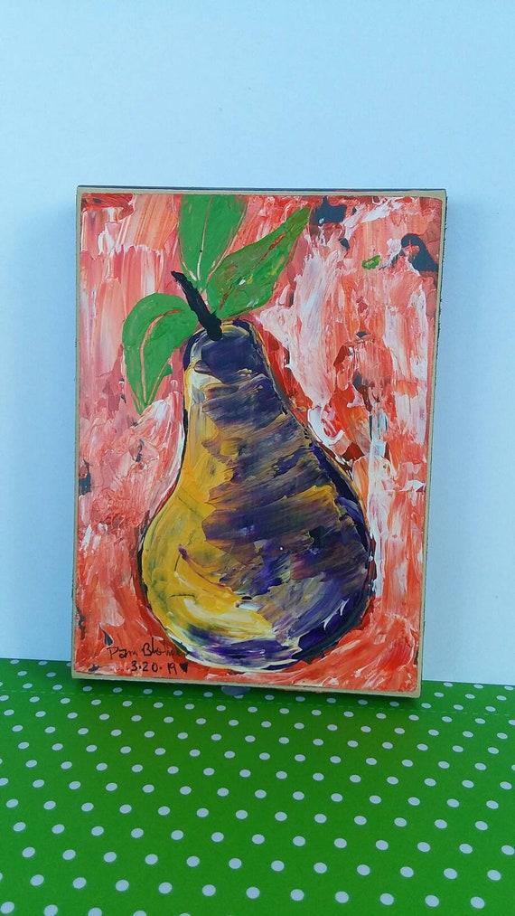 "Abstract acrylic Pear  ""Fabulous Edible"" original painting Kitchen art/restaraut art/food art/Abstract Pear/ Fruit art/ abstract original"