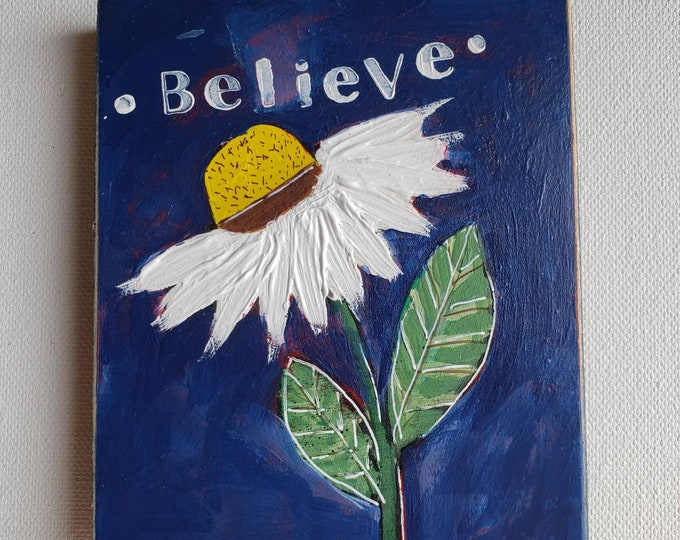 White Daisy - Dark Navy accent- 4x5 original acrylic painting on upcycled birch plywood