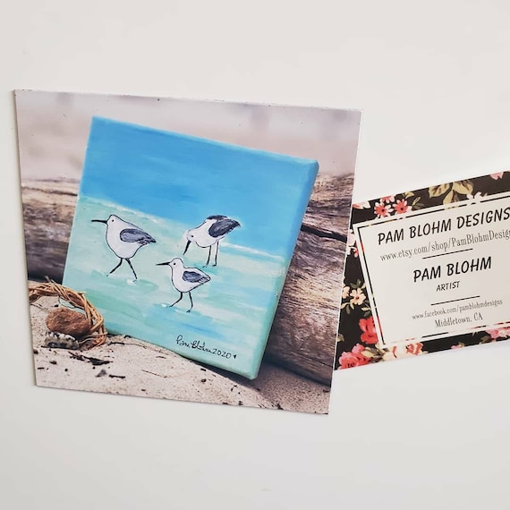 "Art MAGNET ""Shorebirds on the Beach"" kitchen decor / small art gift idea/ Beach lover gift / Bird art"