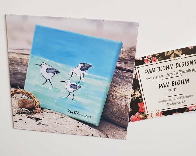 "Art MAGNET ""Shorebirds on the Beach"" kitchen decor -small art gift idea-Beach lover gift - Bird art"