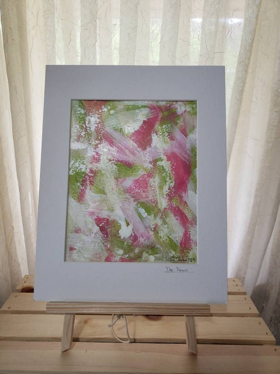 """Original Acrylic Abstract Painting / 11x14 White Matted """"The Dance"""" / Wall Art/Home decor/Office art/Nursery Decor/ Pink and Green"""
