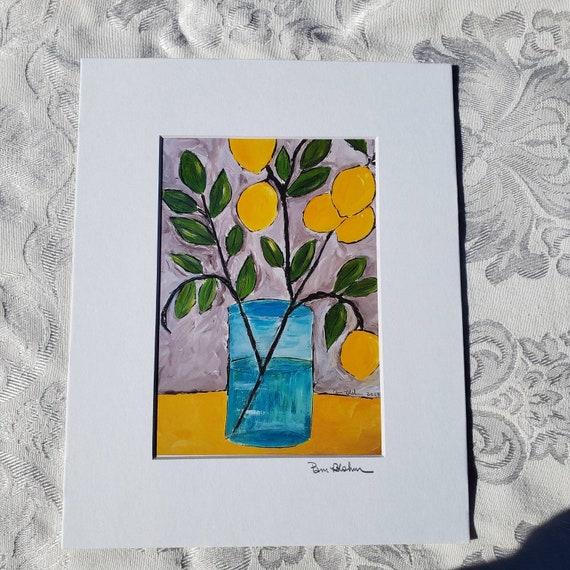 "Artist  PRINT ""Lemon Branch 101"" / 8x10  Matted artwork /Kitchen Decor wall art /fruit print"