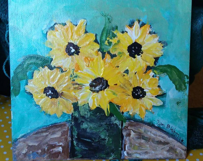 """FRAMED Floral Still Life  """"Sunflowers on the Table"""" - 6x6  Original acrylic  painting-wall art-Yellow Sunflower art"""