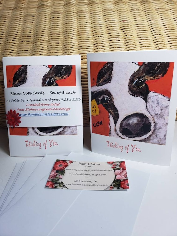 """Note cards """"Cow 25""""  /set of 5 blank cards/self adhesive envelopes included /created from Artist Pam Blohm original art/Thinking of You"""