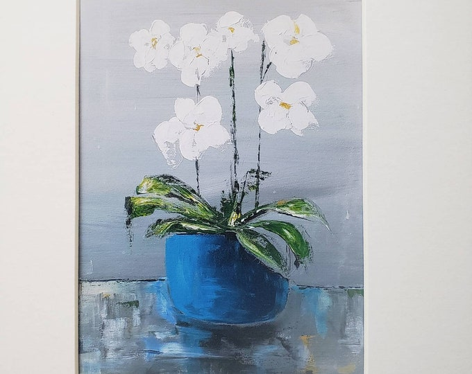"""Print """"Orchids of White""""  in Blue Pot - artist PRINT-white matted to 8x10 frame size"""