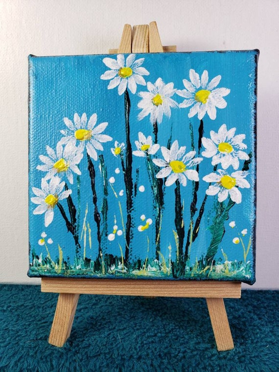 Daisy Small art original acrylic painting/4x4 includes display easel /tray art