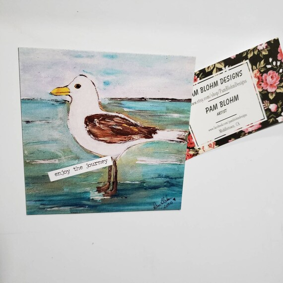 "Art MAGNET "" Enjoy the Journey"" Seagull small art /Beach lover gift idea/ ocean lover / words of encouragement"