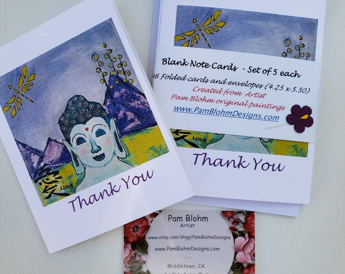 """Buddha """"Thank You"""" Note Card Set - 5 pieces includes self adhesive envelopes"""