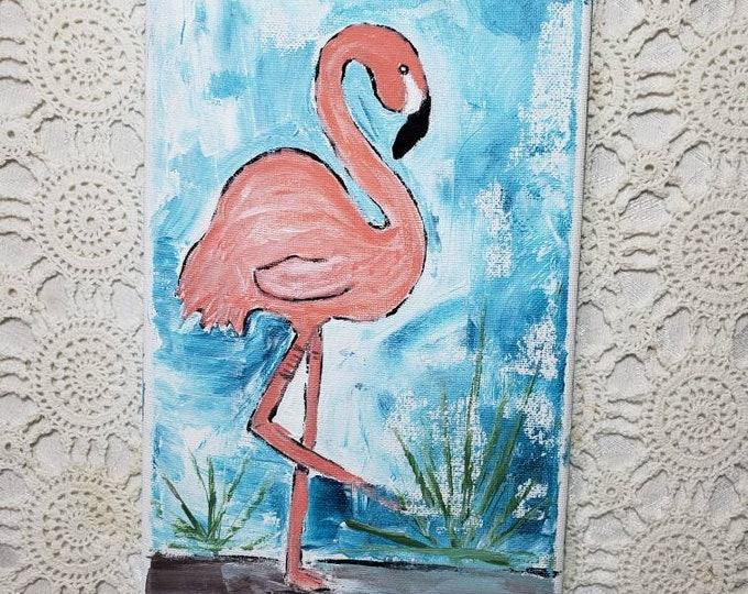 "Acrylic painting  "" Tropical Flamingo"" - Original wall art - 7x14 Bathroom deco - nursery wall decor - Pink  bird art"