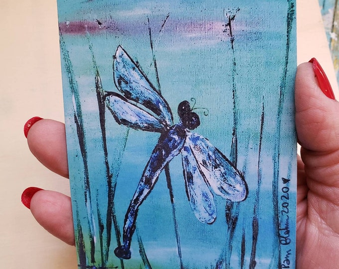 """Artist MAGNET """"Blue Dragonfly """" from original painting -3.25x 4.5 Small art gift idea -Nature Lover art"""