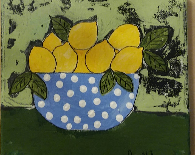 "Original ""Blue Bowl with Lemons"" - 6x6 Abstract Acrylic Painting - Kitchen Shelf art /  One of a kind artwork- Polka Dot Fun"