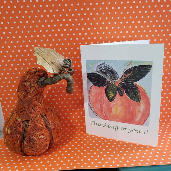 "Blank Note card set of 5 / ""Thinking of you ""/ Pumpkin art / gift packaged /Thanksgiving"