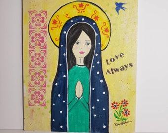 "8x10 ""Folk Art Madonna"" original acrylic painting on Canvas PANEL."