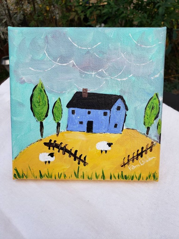 "Original "" Blue House on the Hill "" Acrylic Painting/6x6 Farmhouse artwork/ Farm Sheep."