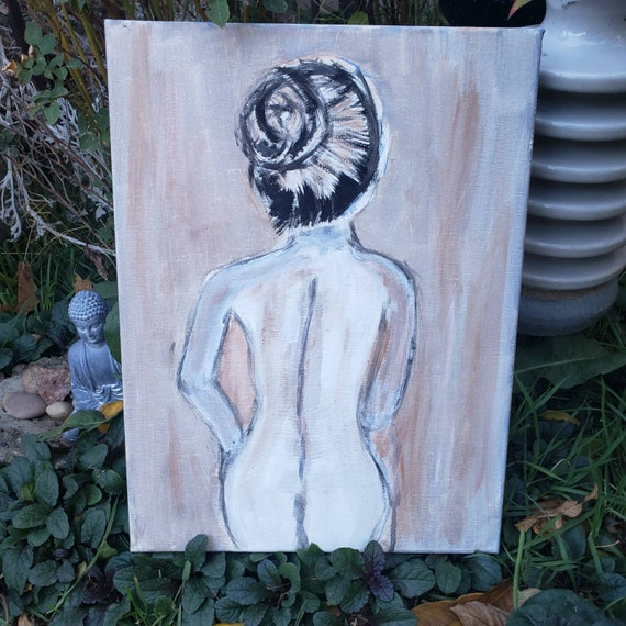 "12x16 original acrylic painting ""The Layout Sketch""  / undressed woman artwork /nude art   wall decor"