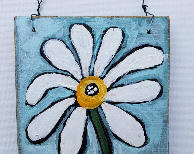 Small art DAISY on upcycled wood canvas and wire hanger - Original Acrylic Painting