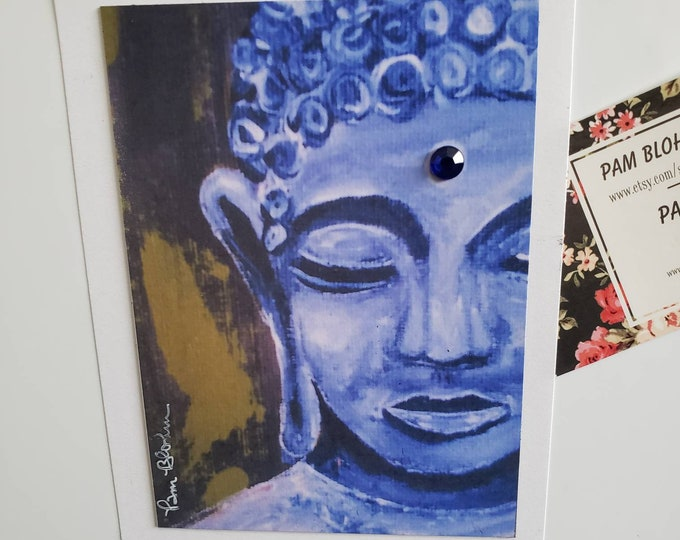 """Art MAGNET """"Young Buddha """"  home decor-small art gift idea -Rhinestone Bling added - made in USA"""