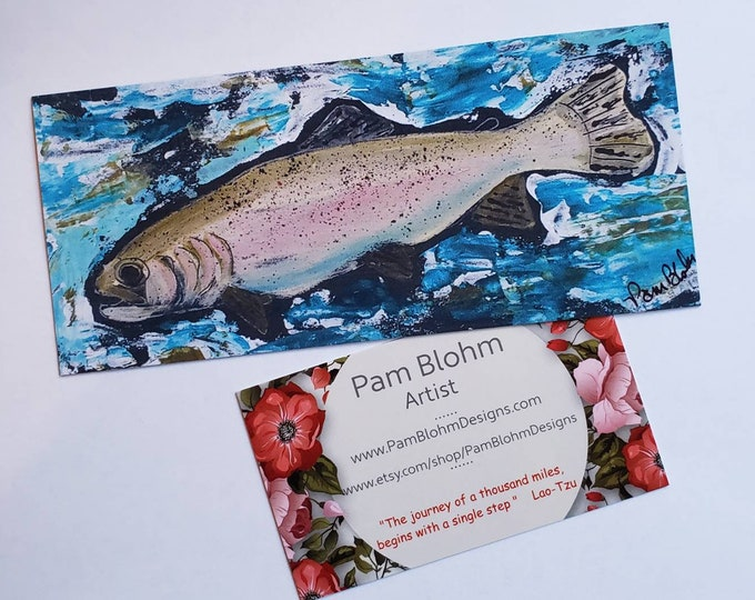 """Artist Magnet- """"Rainbow Trout Swims Left"""" - approx. 2.75""""x 5.75"""" large  - Fisherman Stocking Stuffer- Man Cave Gift"""