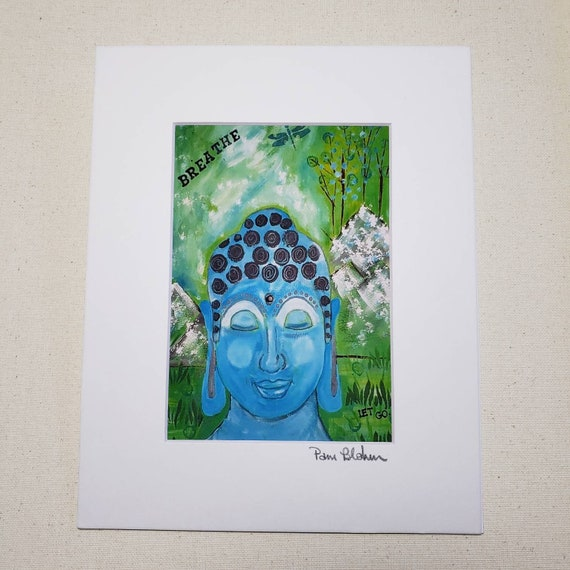 "Artist PRINT of original acrylic painting by Pam Blohm ""Meditation"" / Buddha Artwork Print 8x10 wall art"